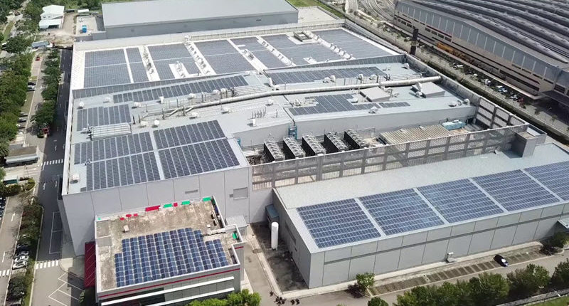 Solar Panel installed at Warehouse Rooftop - Logistics Institute of Singapore (LIS)